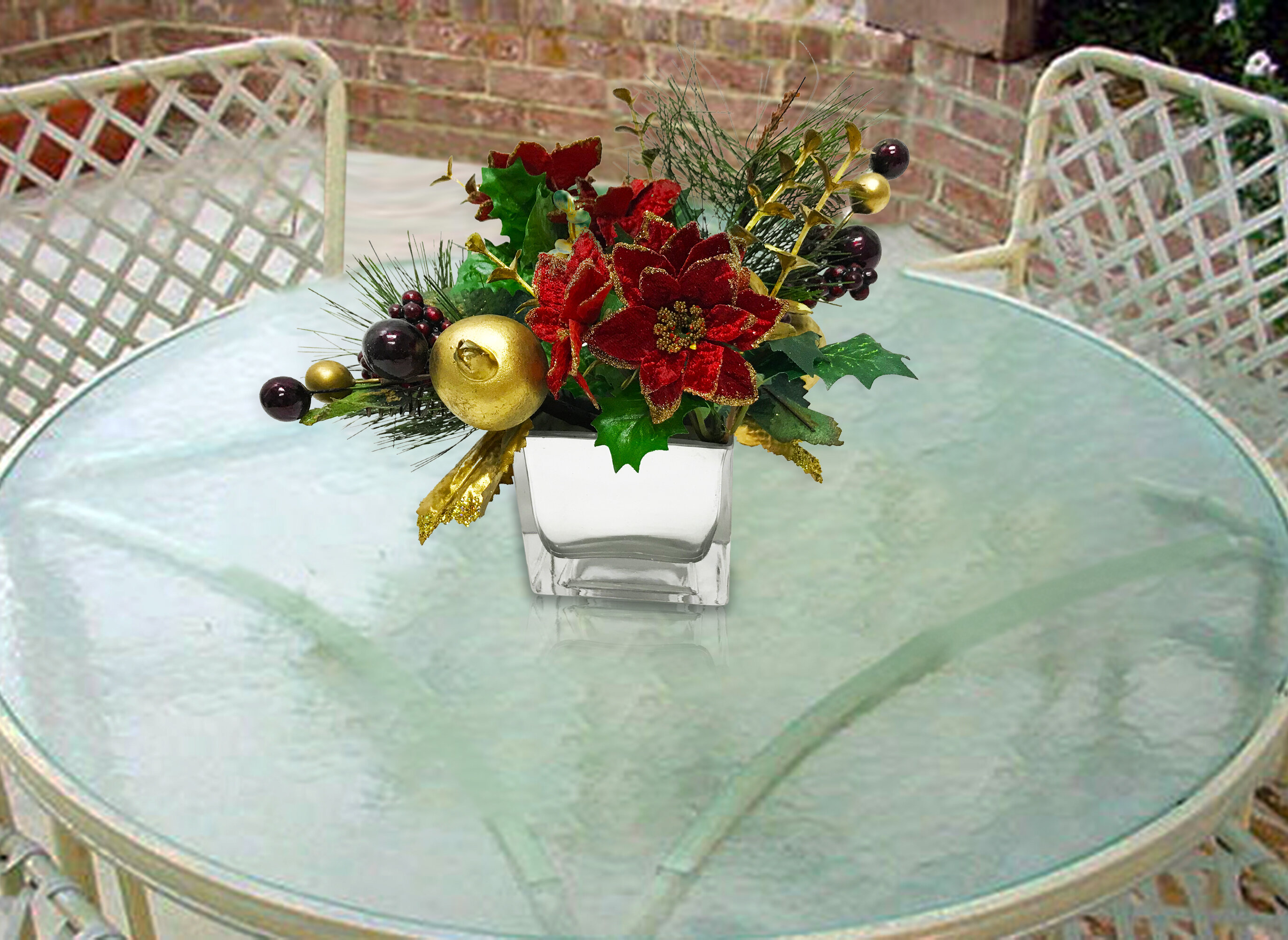 The Holiday Aisle Festive Sparkly Poinsettia Floral Arrangement And Centerpiece In Pot Reviews Wayfair