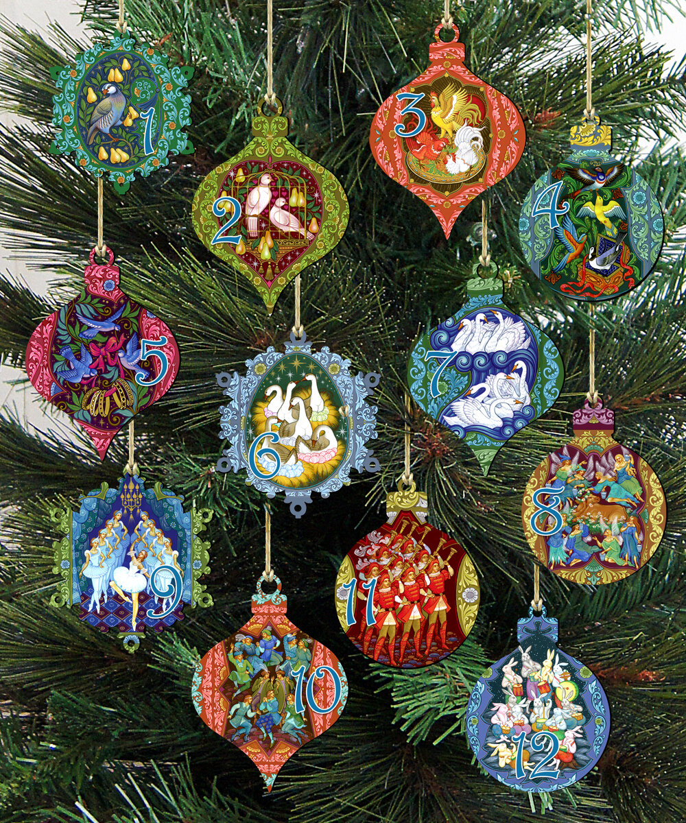 The Holiday Aisle 12 Piece Days Of Christmas Hanging Figurine Ornament Set Reviews Wayfair