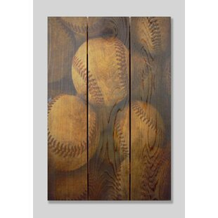 Vintage Baseball Cedar Painting Print On Cedar. By Gizaun Art
