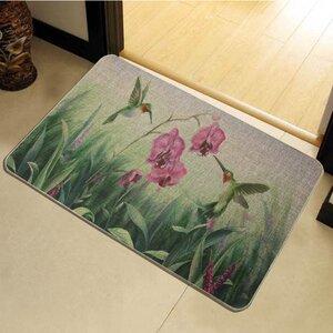 Fairview Birds Flower Printed Rubber Backed Doormat