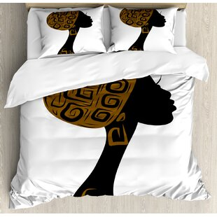 African Face Profile Silhouette Woman with Headscarf Tribal Art Folk Elements Duvet Set by Ambesonne