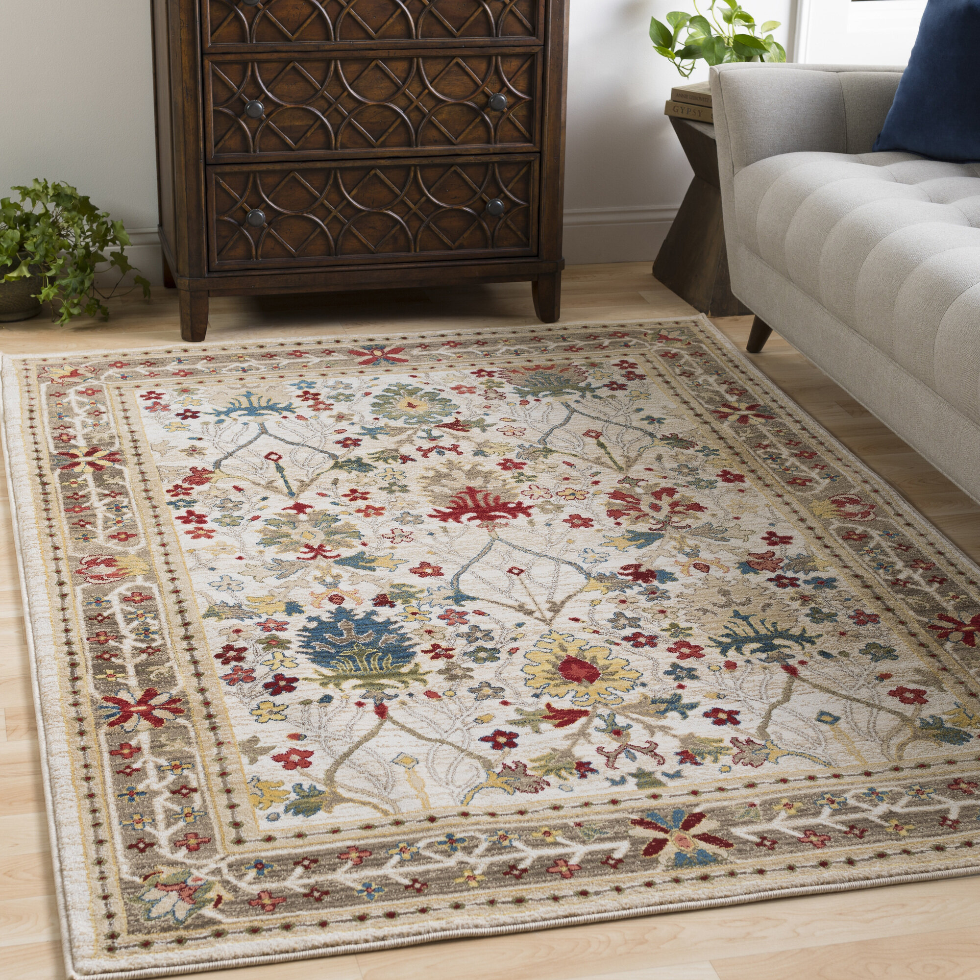 Brown Tan Floral Plant Area Rugs You Ll Love In 2021 Wayfair