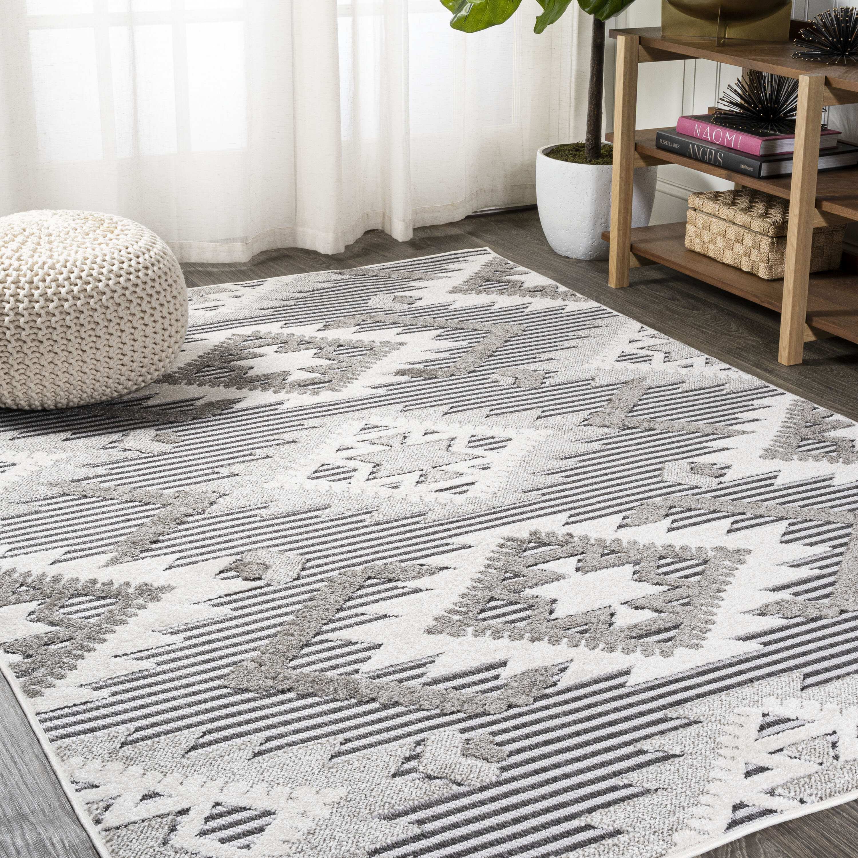 Union Rustic Wyman Geometric Gray White Black Indoor Outdoor Area Rug Reviews Wayfair