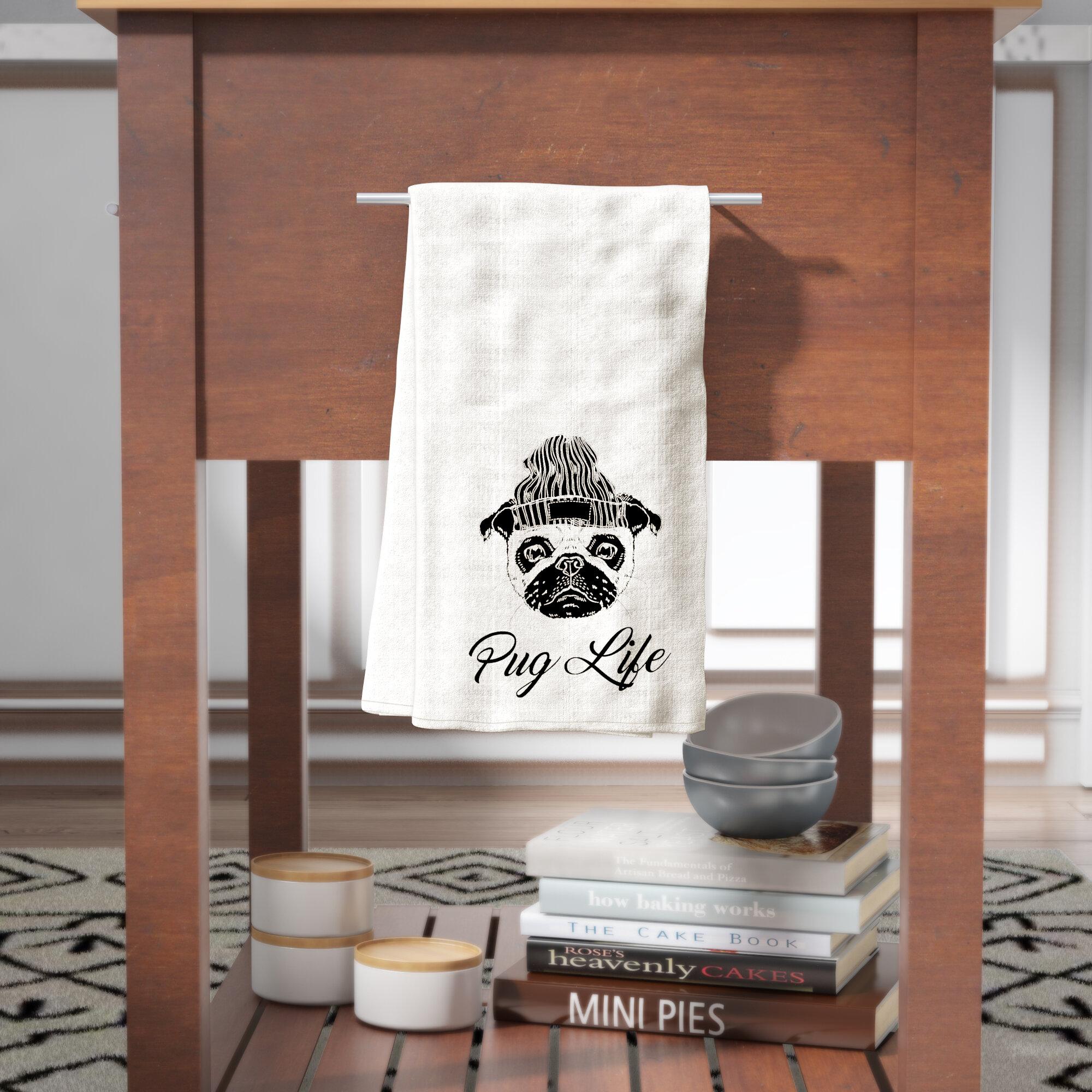Brayden Studio Pug Life Beanie Tea Towel  689ef549078