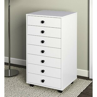 Keaton Wood 7-Drawer Mobile Vertical Filing Cabinet