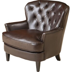 alicia tufted leather arm chair