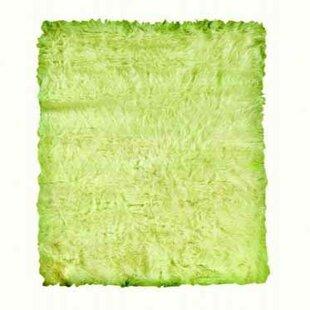 Samantha Hand-Tufted Faux Sheepskin Green Area Rug byThreadbind