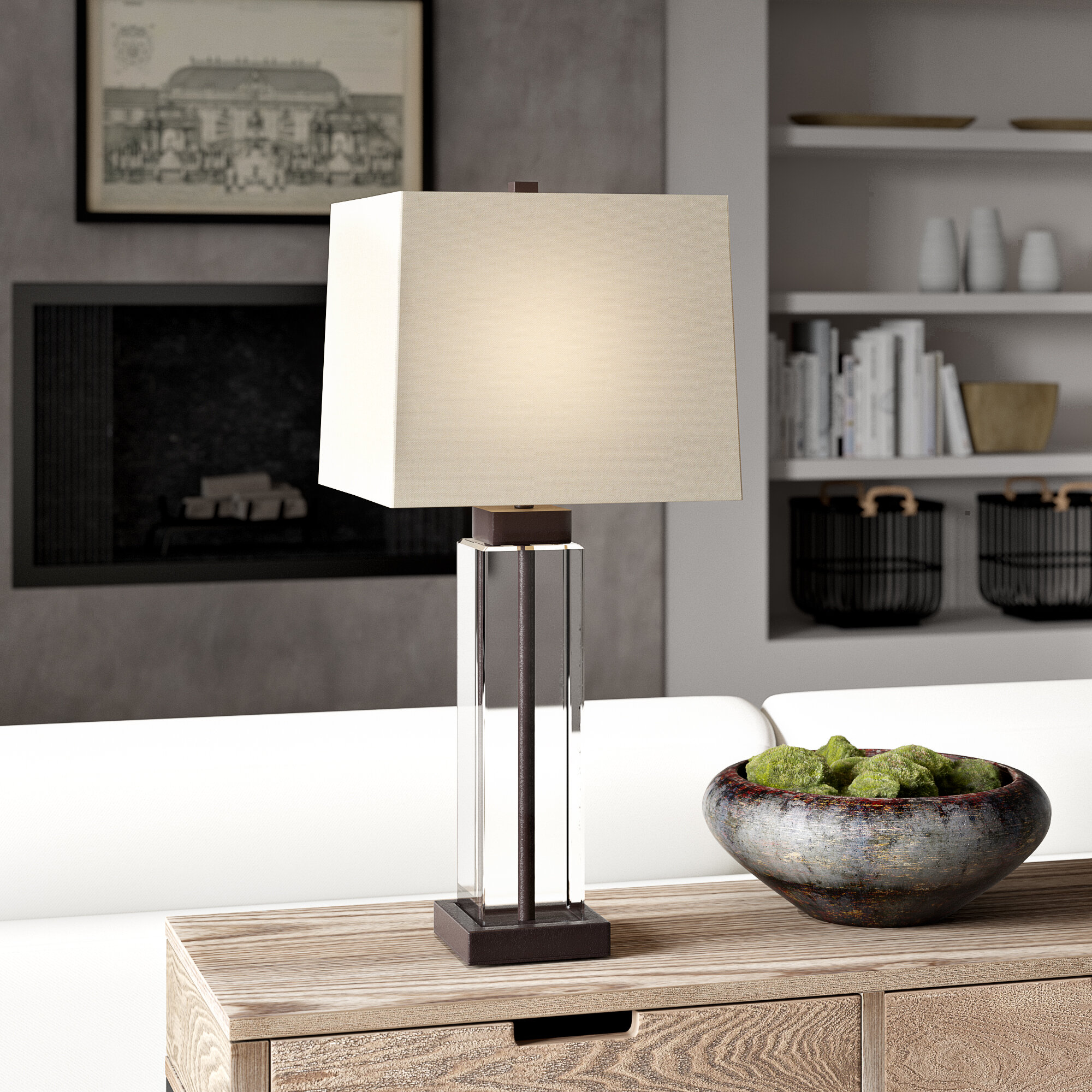 "Nikita 8.8"" Glass/Bronze Table Lamp Set"