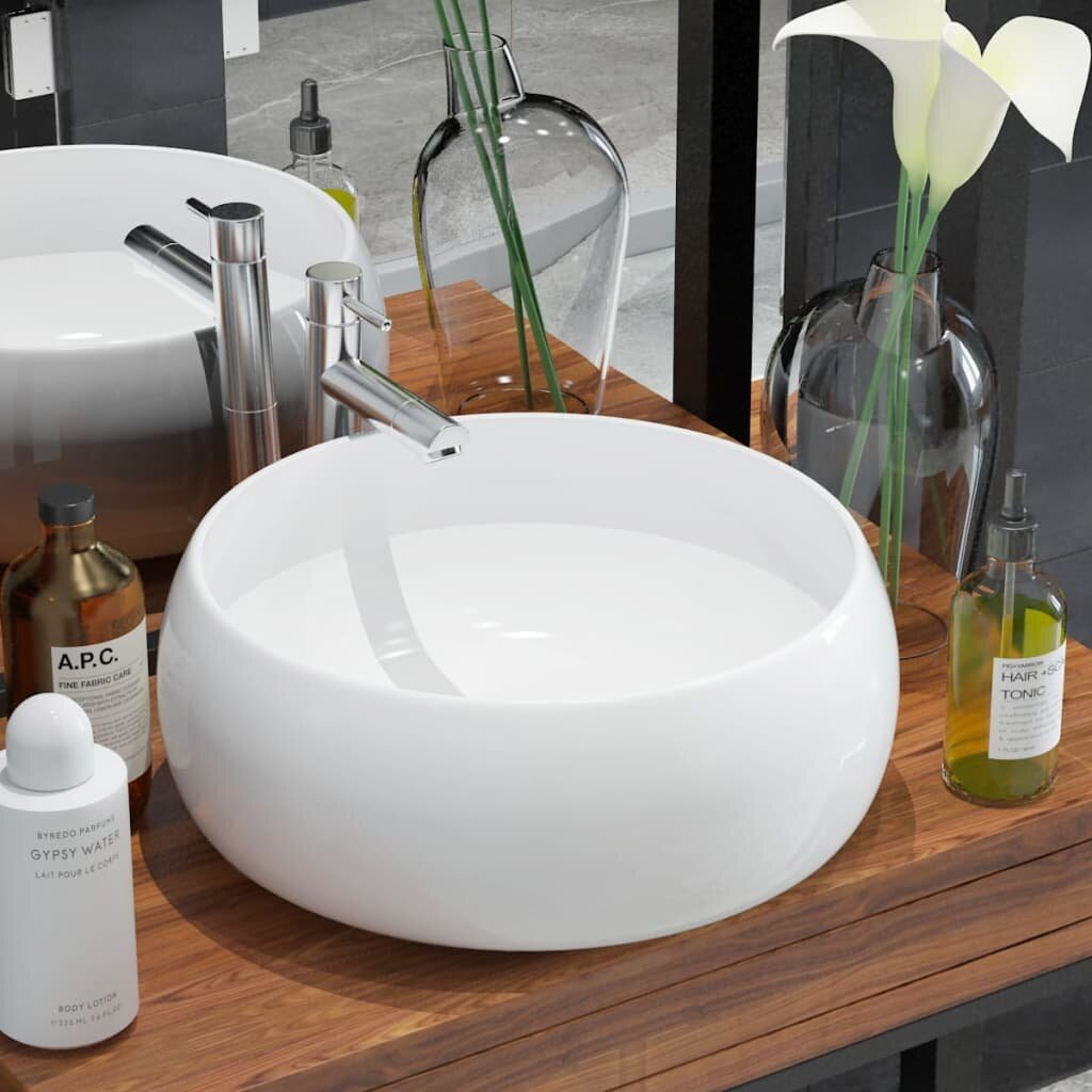 Vidaxl White Ceramic Circular Vessel Bathroom Sink Reviews Wayfair