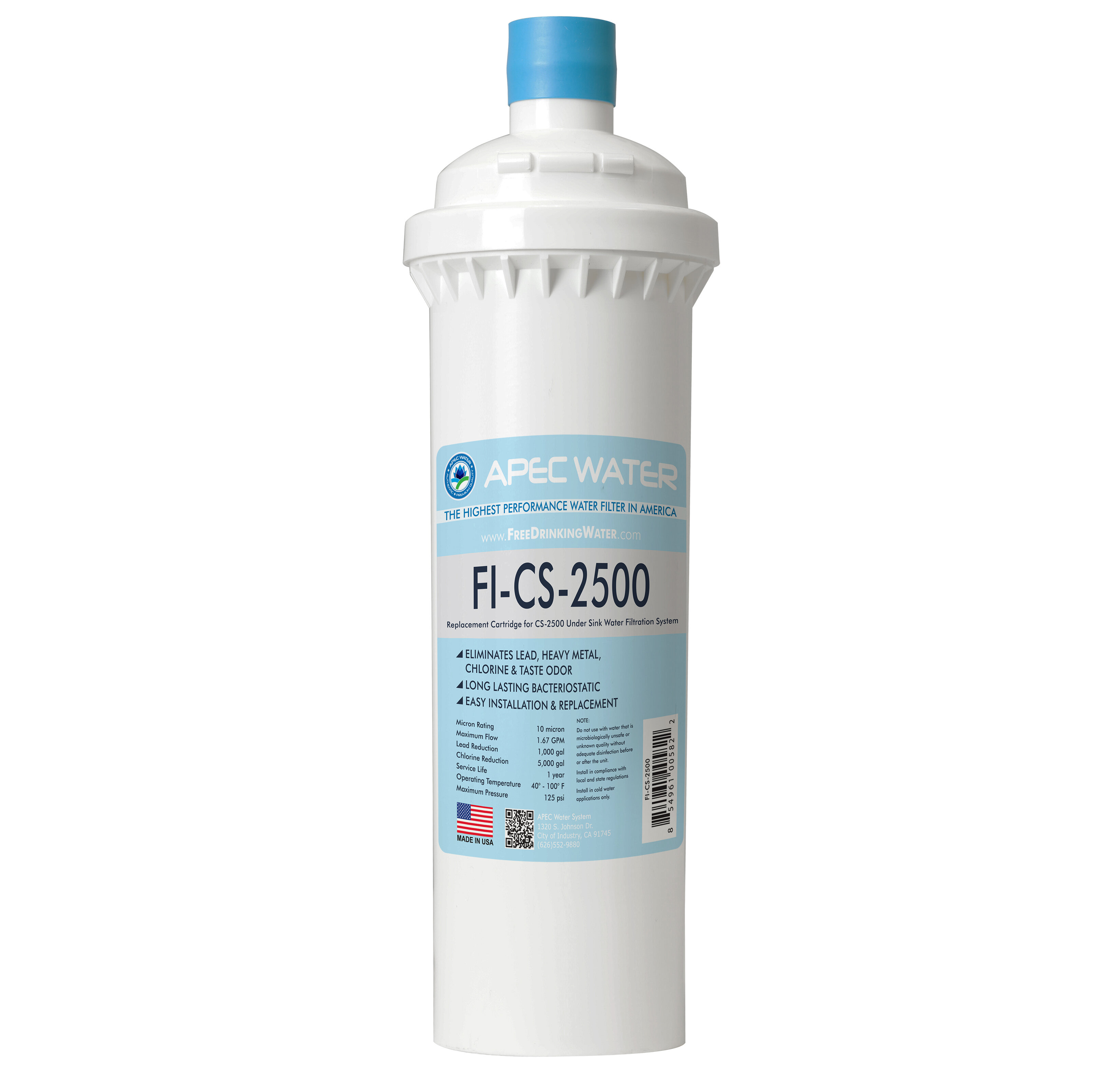 CS-2500 Premium Quality US Made Filter APEC Water Systems APEC Ultra High Capacity Under Sink Water Filtration System