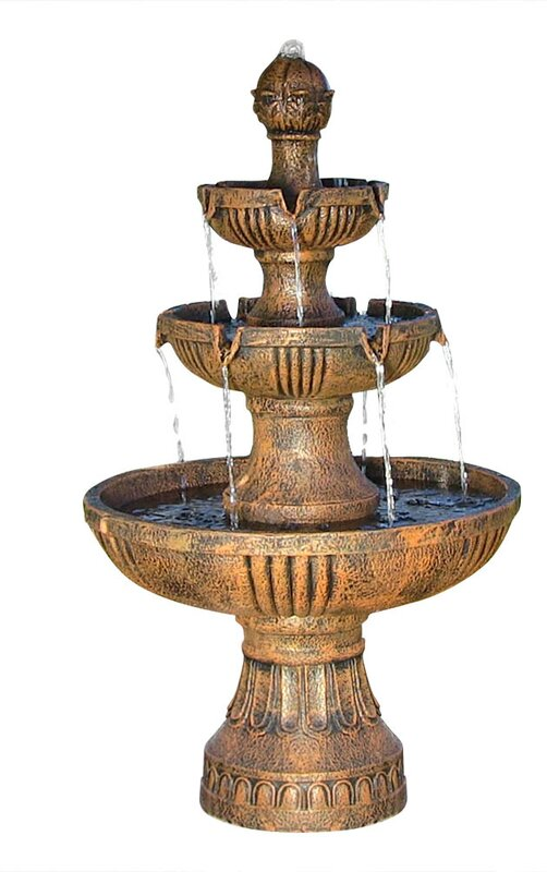 Fiberglass/Resin Flower Blossom 3 Tiered Electric Water Fountain