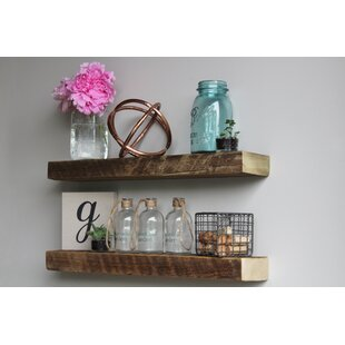 Joao Reclaimed Barn Wood Floating Accent Wall Shelf (Set of 2)