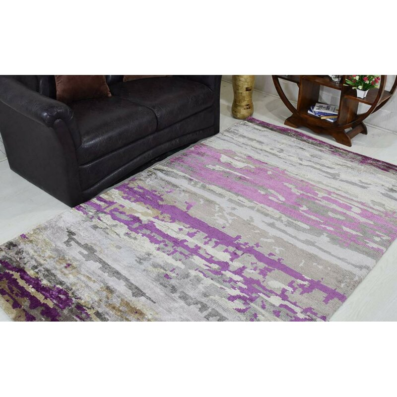 Brayden Studio Dalvey Abstract Hand Knotted Purple Area Rug Wayfair