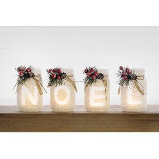 Christmas Mason Jar Noel 4 Piece Glass Tealight Set by The Holiday Aisle