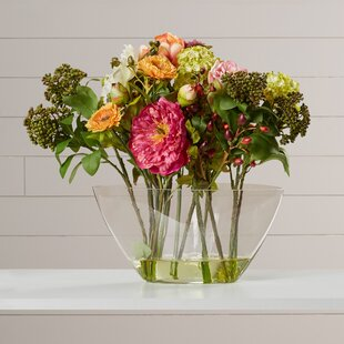 Nola Peony Arrangement with Glass Vase Silk Flower & Glass Vase With Flowers | Wayfair