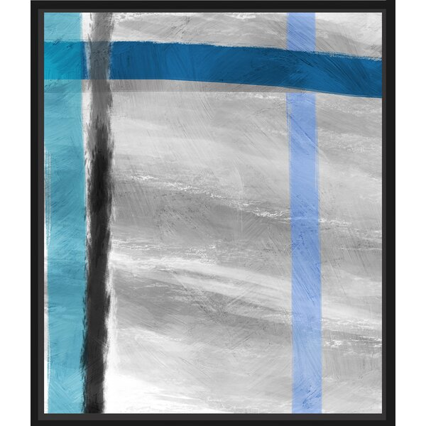 Ptm Images Grey And Blue Lines Floater Framed Painting Print On Wrapped Canvas Wayfair