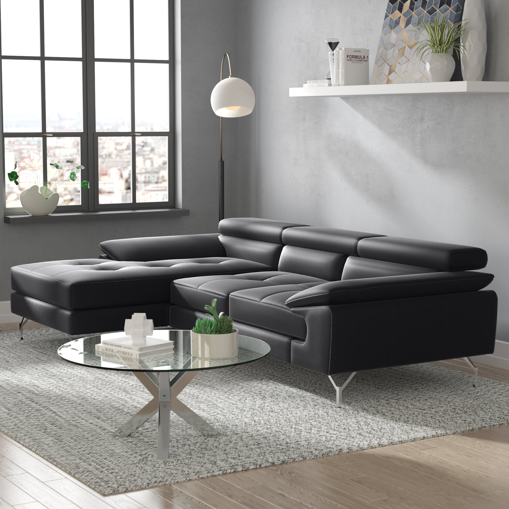 gains leather loft sectional pdx reviews concepts home furniture wayfair