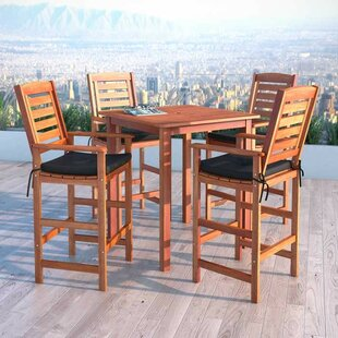 Folse 5 Piece Bar Height Dining Set with Cushions