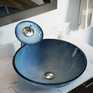 Hand-Painted Glass Circular Vessel Bathroom Sink
