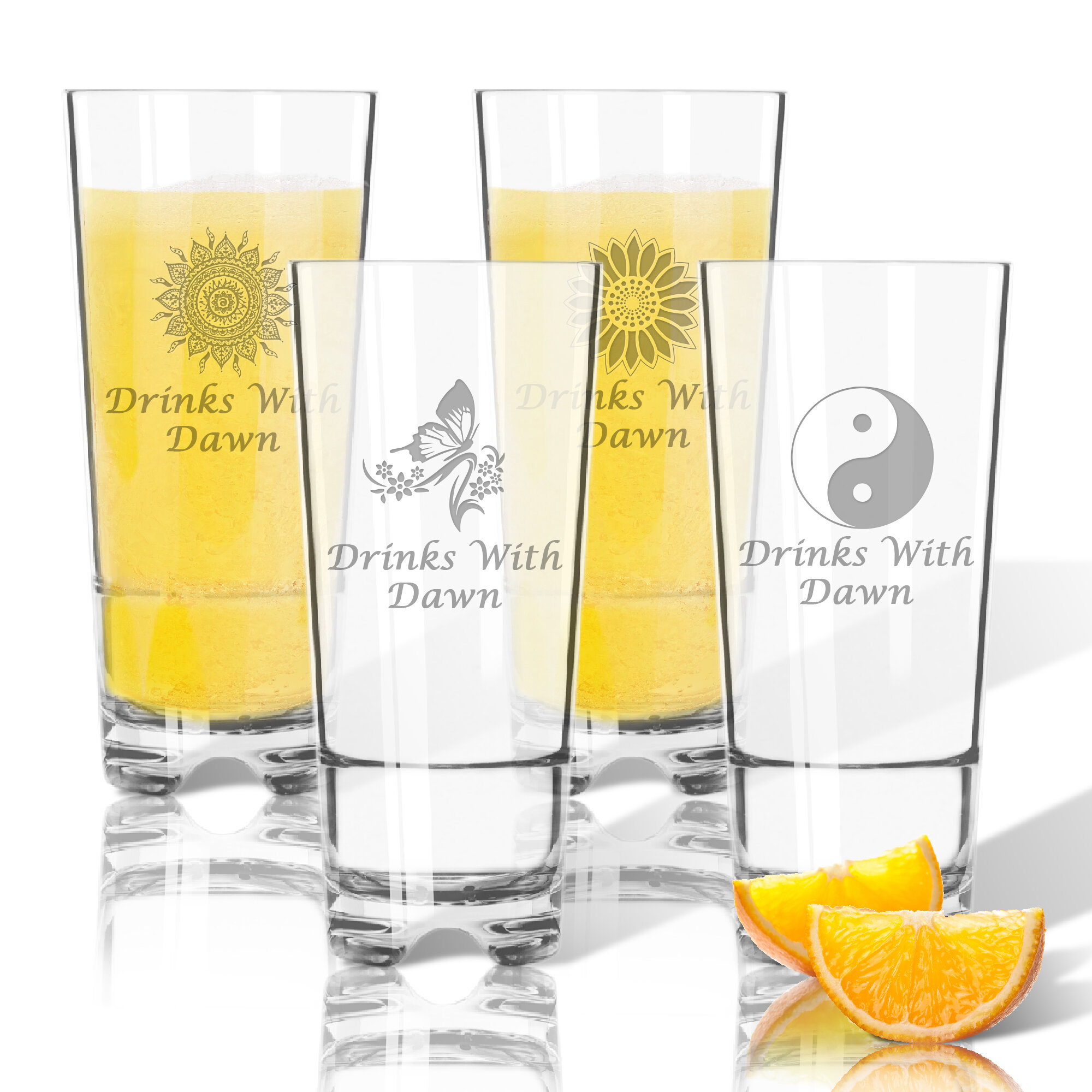 Carved Solutions Personalized Solstice Tritan 4 Piece 16 Oz Plastic Highball Glass Set Wayfair