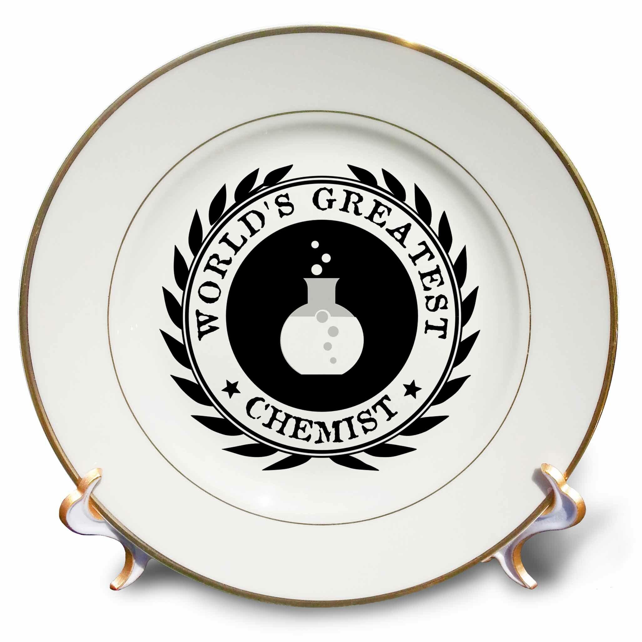 East Urban Home Worlds Greatest Chemist Chemistry Job Pride Badge Graphic Porcelain Decorative Plate Wayfair
