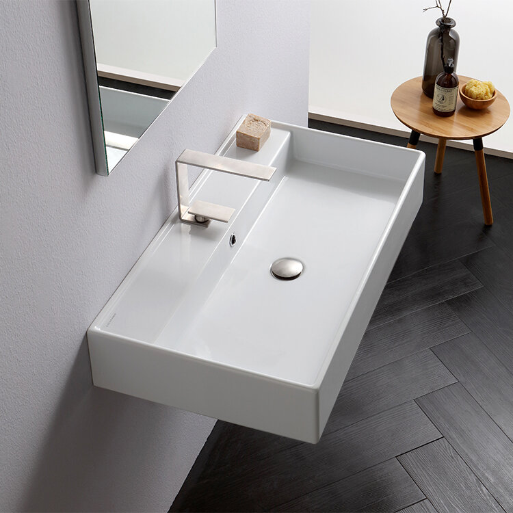 Teorema Ceramic 32 Wall Mount Bathroom Sink With Overflow Reviews Allmodern