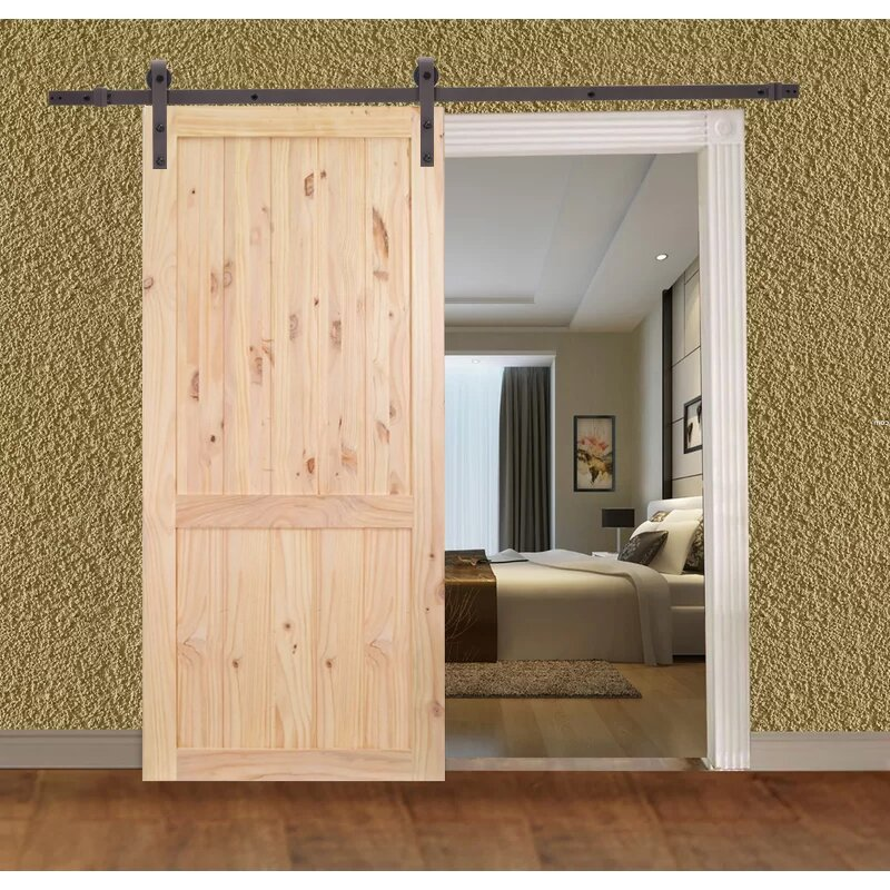 Calhome Unfinished 2 Panel Solid Wood Panelled Knotty Pine Slab Interior Barn Door Wayfair