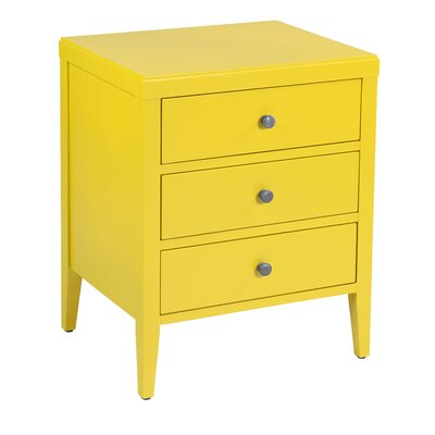 Rushville 3 Drawer Nightstand Color: Yellow by Andover Mills