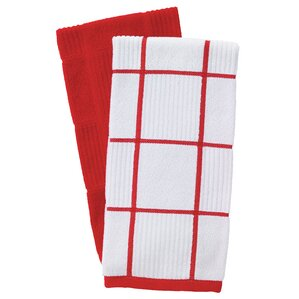 Charming 2 Piece Solid And Check Parquet Kitchen Dishcloth Set