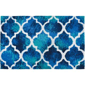 Wrought Studio Lennie Tiles Blue Area Rug Wayfair