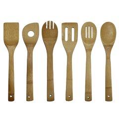 6 Pieces: Spoon Salad Tosser Spatula Slotted Spoon Spoon with Hole Slotted Spatula Adeco Bamboo Kitchen Utensil Tool Set