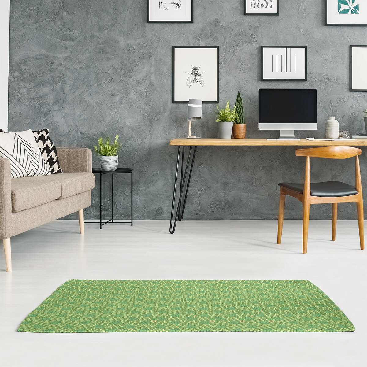 East Urban Home Zig Zag Light Yellow Green Area Rug Wayfair