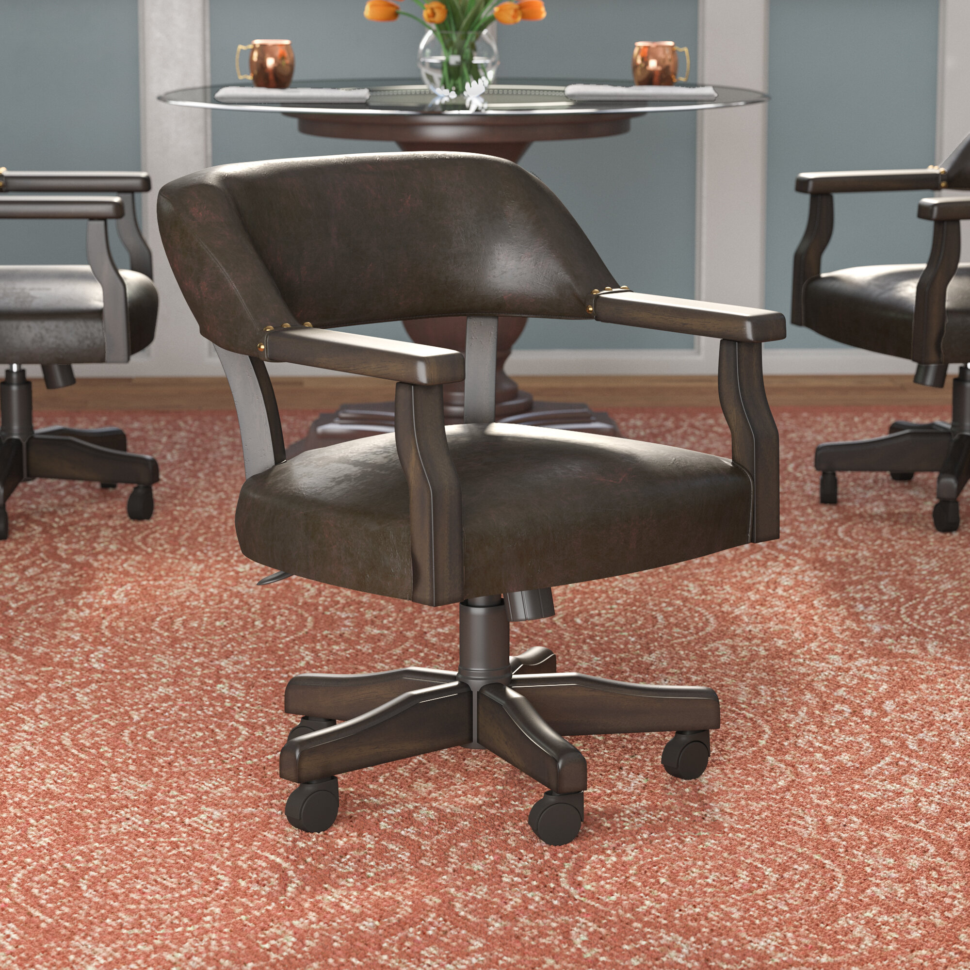 Casters Faux Leather Kitchen Dining Chairs You Ll Love In 2021 Wayfair