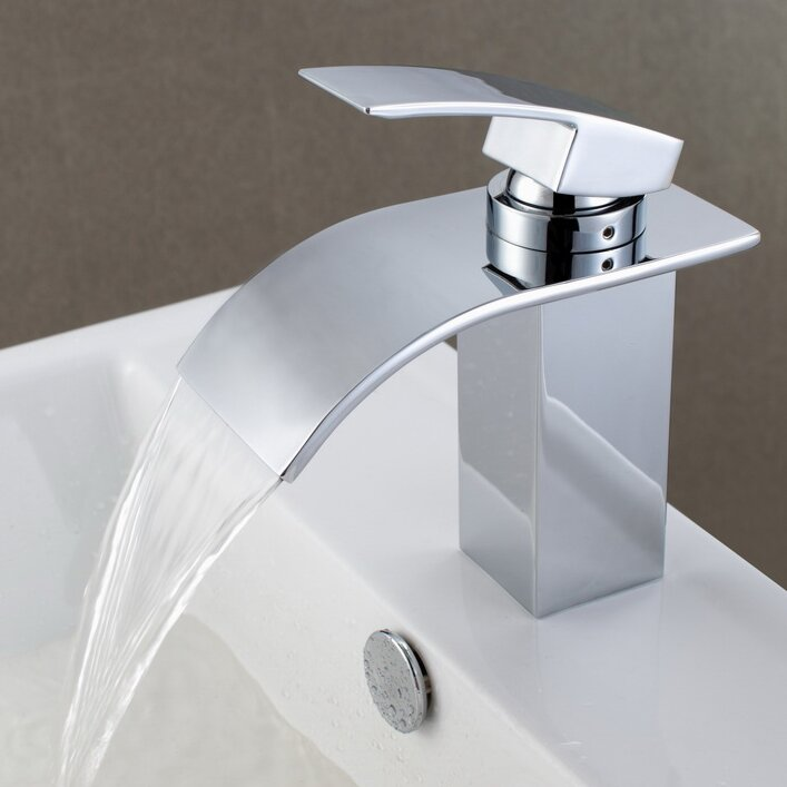 Sumerain Single Handle Deck Mount Waterfall Bathroom Sink Faucet