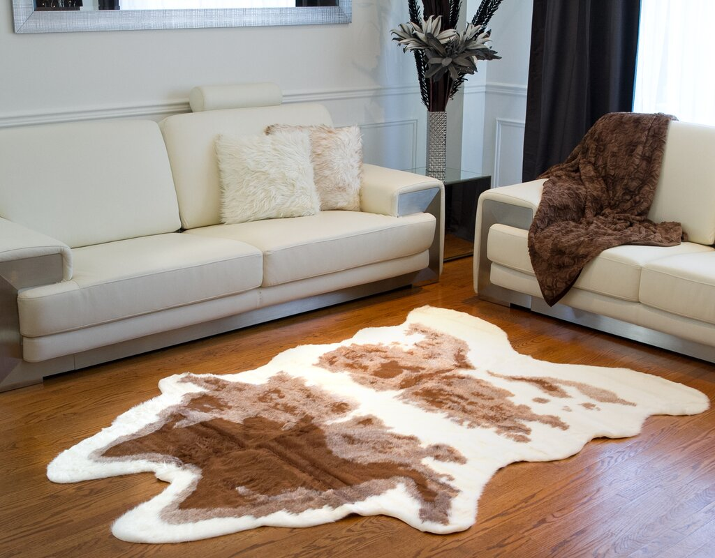 Brown White Cowhide Area Rug