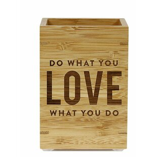 Do What You Love What You Do Bamboo Wooden Pen Holder by Koyal Wholesale