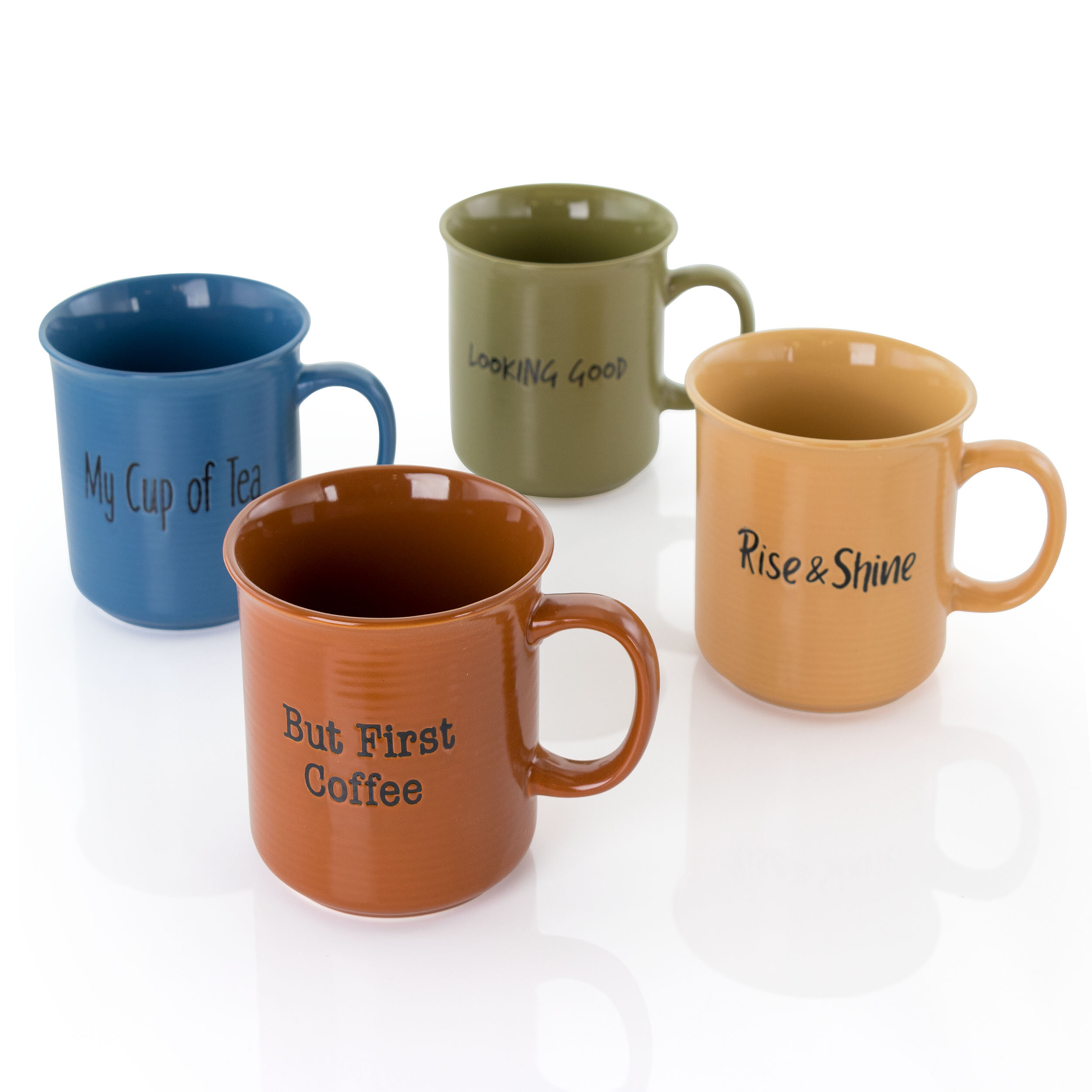 Dog Bas Relief Glossy Multicolored 20 ounce Dolomite Ceramic Mugs Set of 3