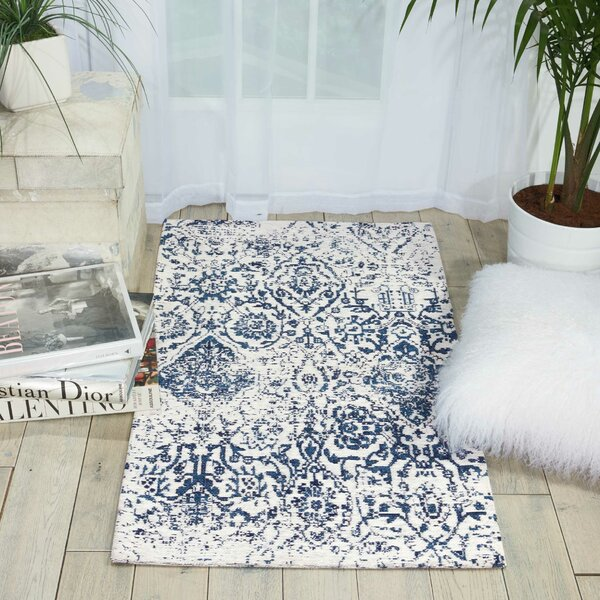 Orourke Abstract Ivory/Navy Blue Area Rug by Joss & Main
