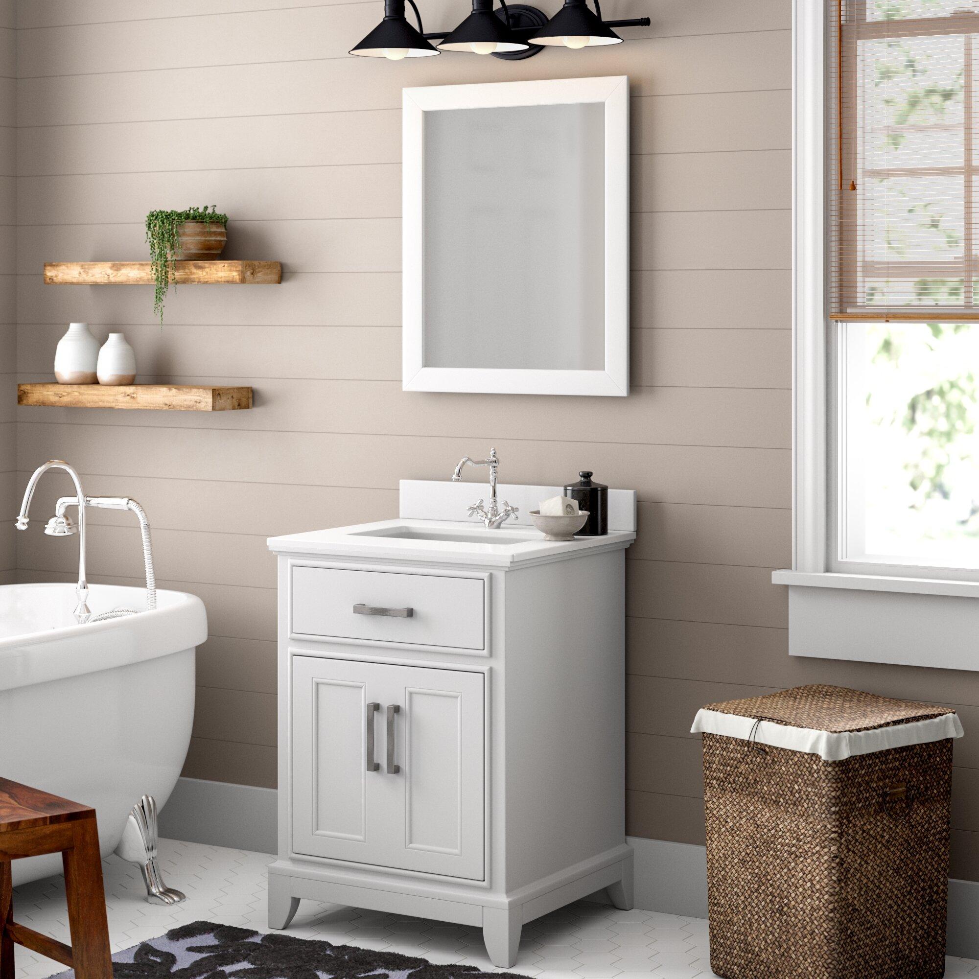 Gracie Oaks Cloran 24 Single Bathroom Vanity Set With Mirror Reviews Wayfair