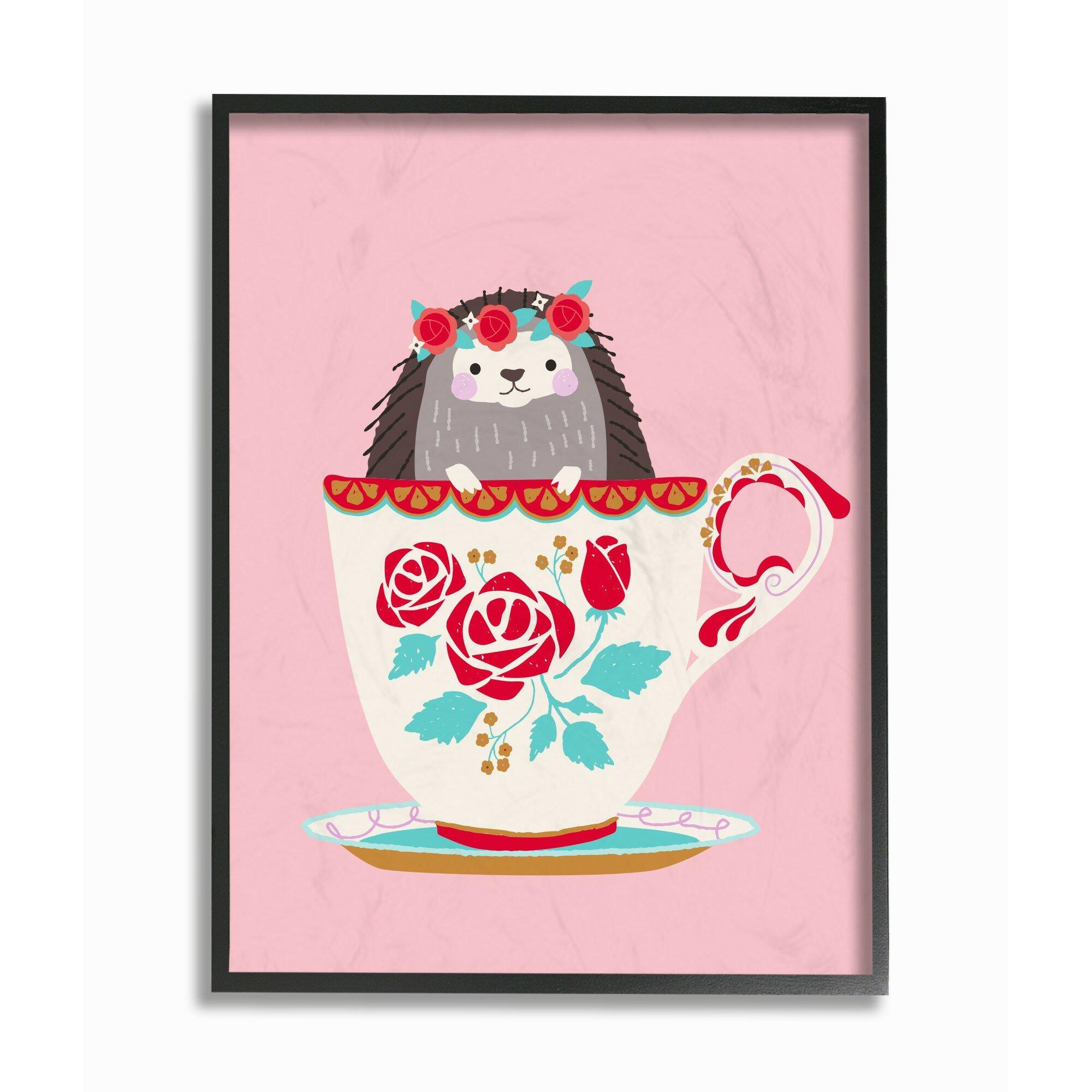 Harriet Bee Rameriz Hedgehog In Teacup Framed Art Wayfair