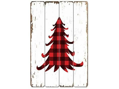 buffalo plaid xmas tree wooden sign wall dcor