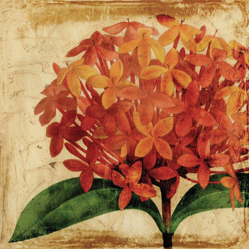 'Vibrant Antique Hydrangea' Graphic Art Print on Glass