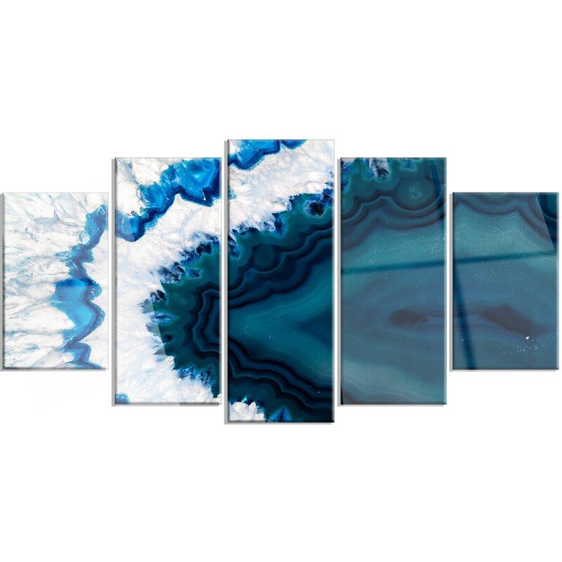 Designart Blue Brazilian Geode 5 Piece Graphic Art On Metal Set Wayfair