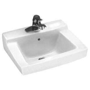 Read Reviews Country Declyn Ceramic 19 Wall Mount Bathroom Sink with Overflow ByAmerican Standard
