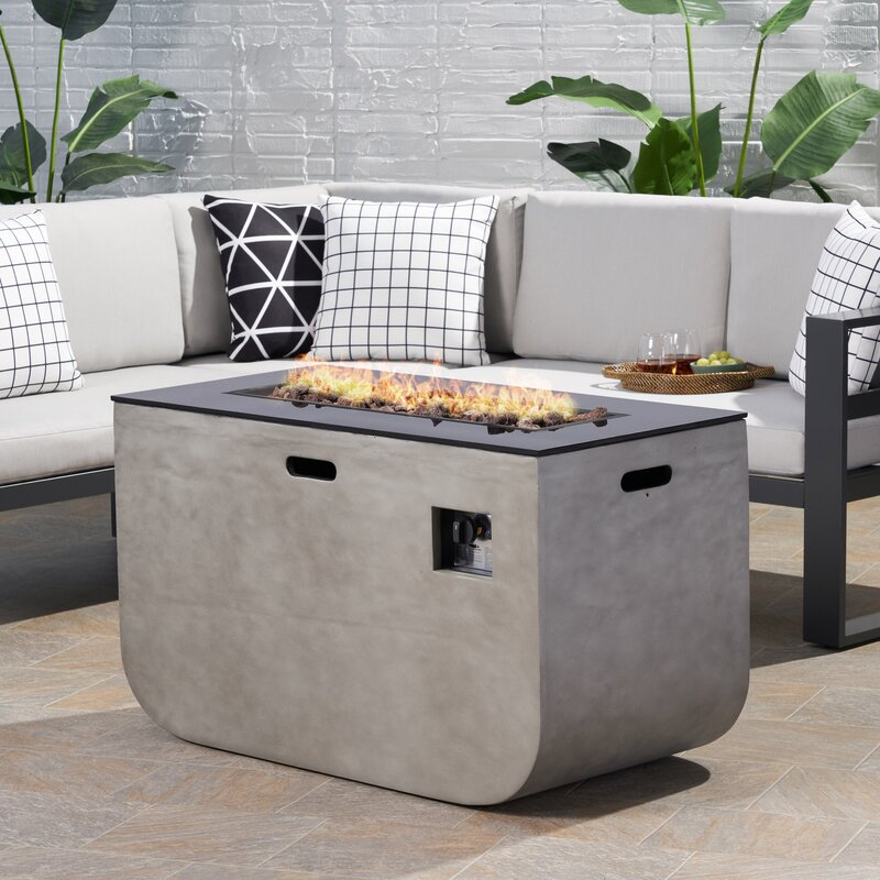 Ebern Designs Ainsley Outdoor Modern Concrete Propane Fire Pit