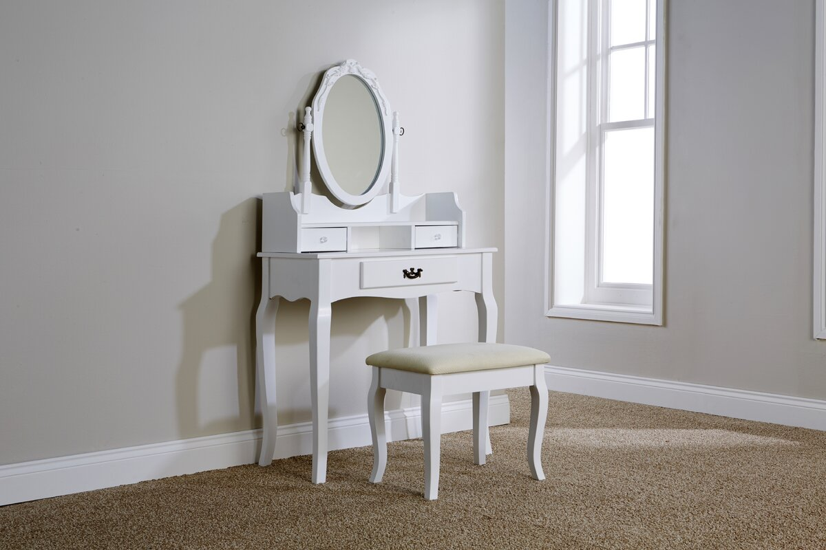 Lily Manor Lucy Dressing Table Set with Mirror & Reviews | Wayfair.co.uk