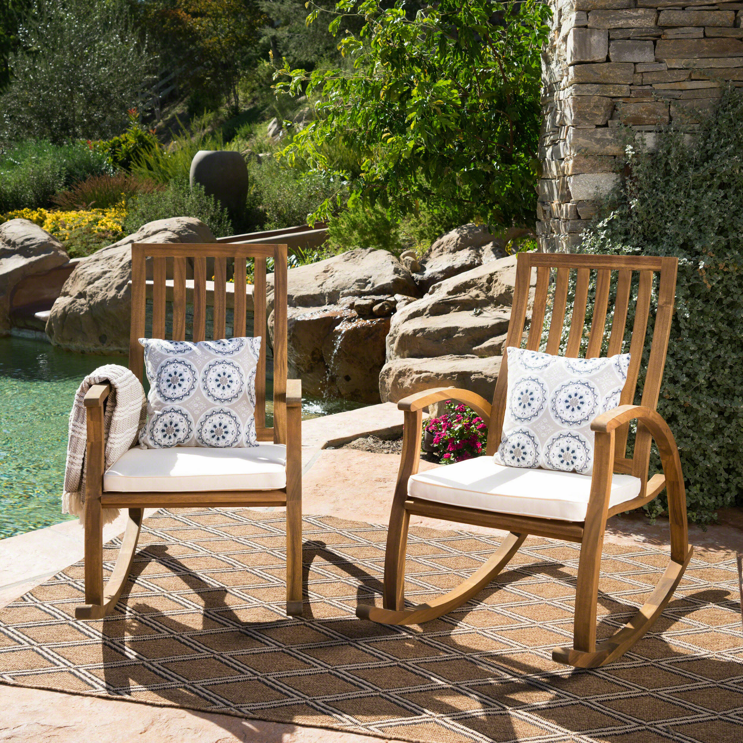 Image of: Bungalow Rose Morais Outdoor Rocking Chair With Cushions Reviews Wayfair