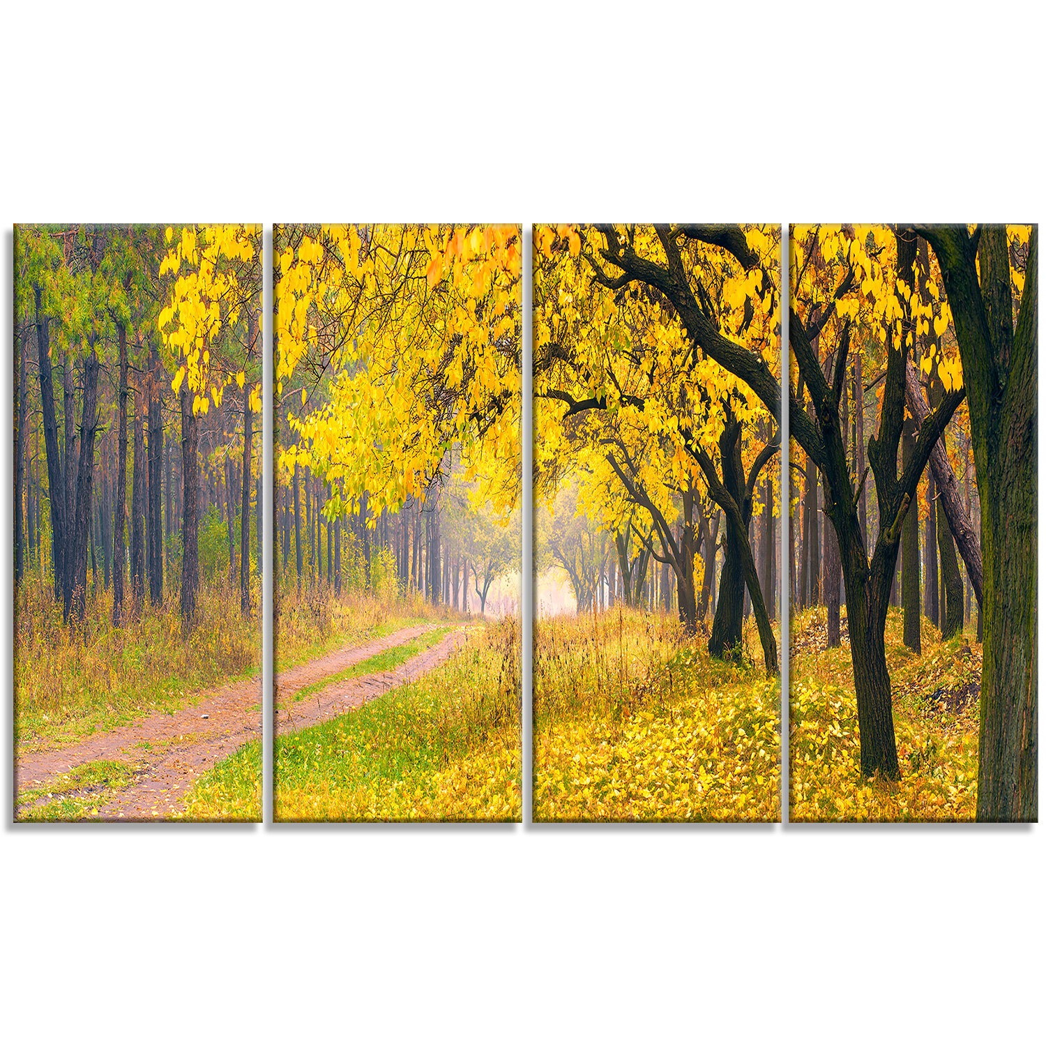 DesignArt \'Bright Yellow Autumn Forest\' 4 Piece Wall Art on Wrapped ...