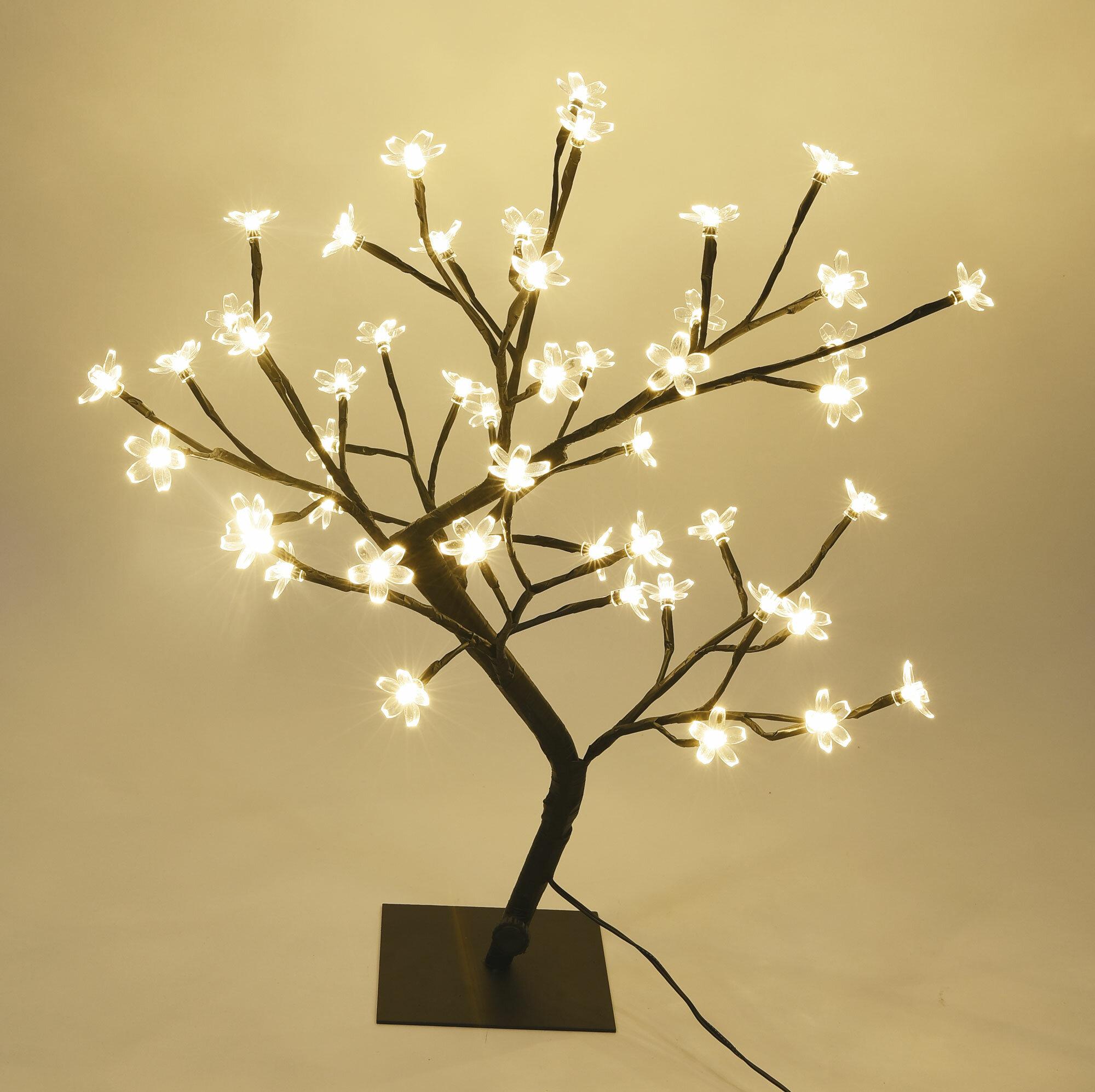 The Holiday Aisle Cherry Blossom Bonsai Tree 48 LED String Lights ...