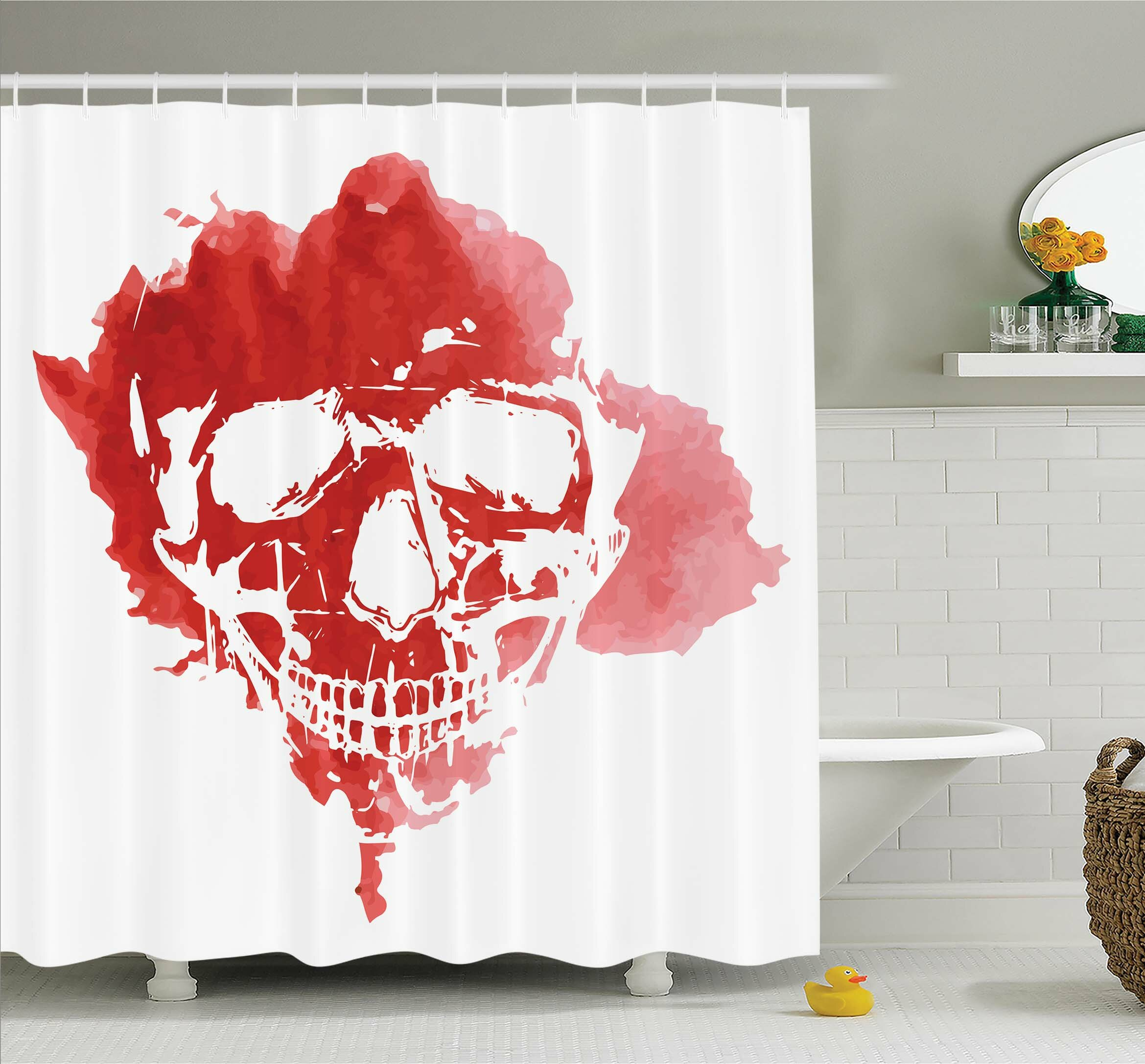 Ambesonne Horror House Skull Head In Watercolor Brush Stroke Gothic  Skeleton Splash Voodoo Paint Shower Curtain Set | Wayfair